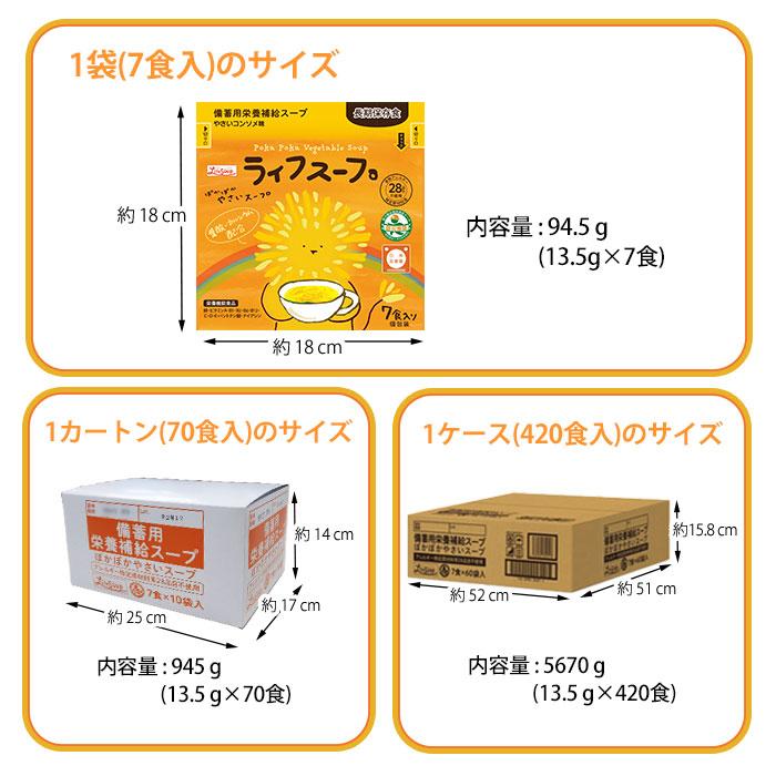 備蓄用 ライフスープ 7食入 栄養補給 野菜スープ 粉末タイプ 食物アレルギー対応 5年保存 保存食 特定原材料等28品目不使用[M便 1/2]