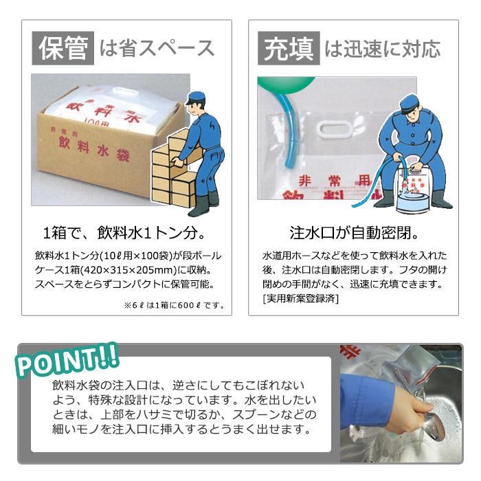 非常用 飲料水袋 背負い式 6リットル用×1枚 リュック型 給水袋 水の運搬 断水対策