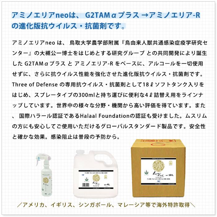 【新型コロナウイルス不活化確認】アミノエリア-neo 詰替え用4リットルポリ容器 抗ウイルス・抗菌剤 アルコールフリー ピーキューテクノ 国際ハラール認証 10年保存 AMA-N-4R