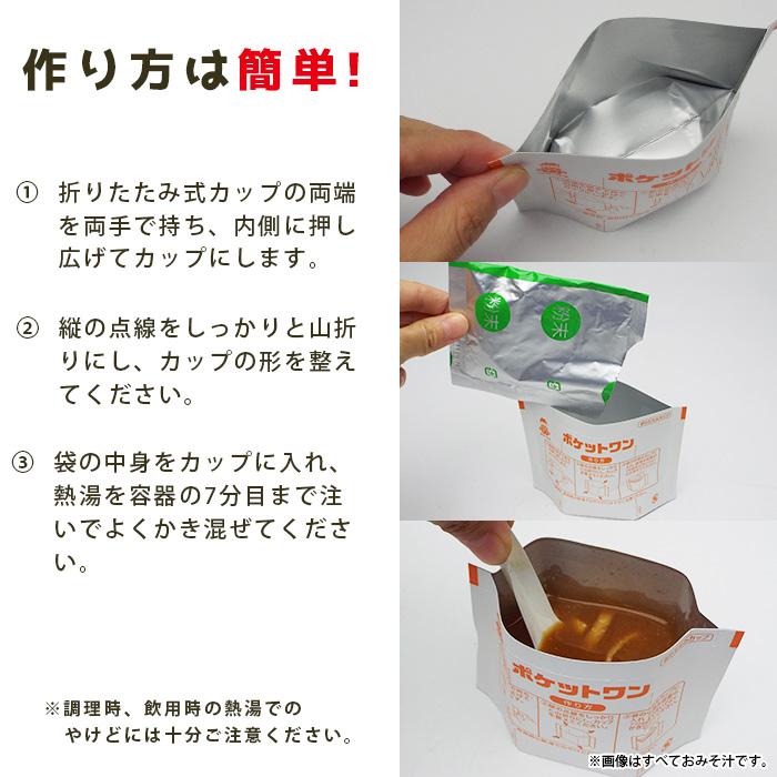 非常食 ポケットワン おみそ汁 1食入 食器不要 水でも作れる 賞味期限5年 即席スープ 粉末 味噌汁[M便 1/8]