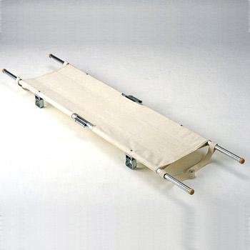 マツナガ担架(4ツ折足付)把手伸縮式スチール製(松永製作所/Matsunaga)