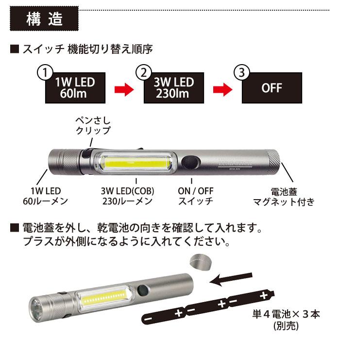 LEDライト ルミスティック LUMI-STICK BH-7004 ハンズフリー マグネット 懐中電灯 ペンライト スティックライト