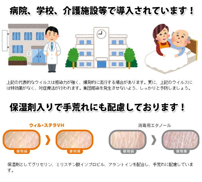 ウィル・ステラVH 1リットル噴射ポンプ付(ウィルステラ ノロウイルス対策 消毒剤 手洗い サラヤ SARAYA)