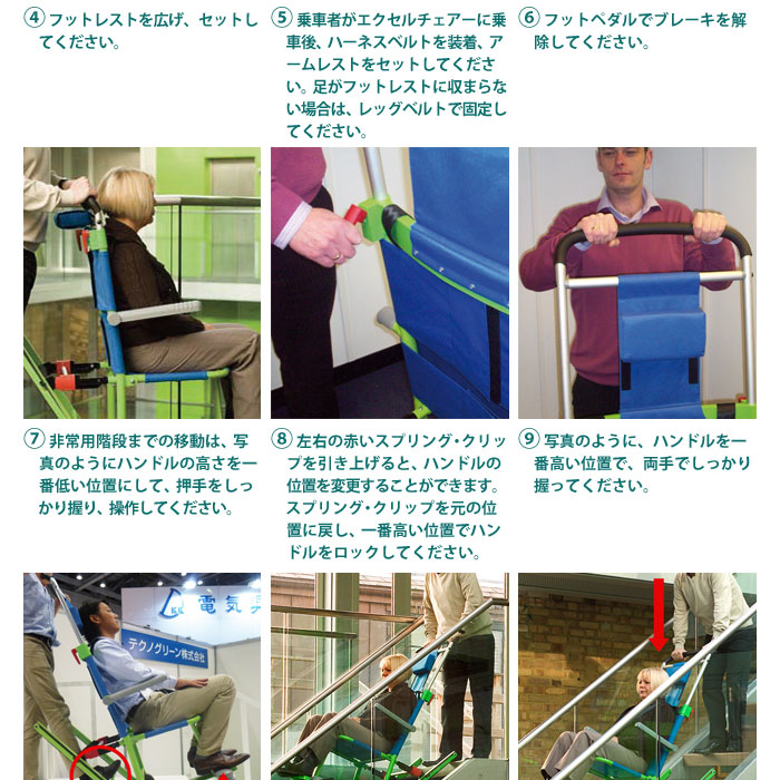 非常用階段避難車 エクセルチェアー 車椅子 救助 救出 お取り寄せ品ご注文後2週間程度