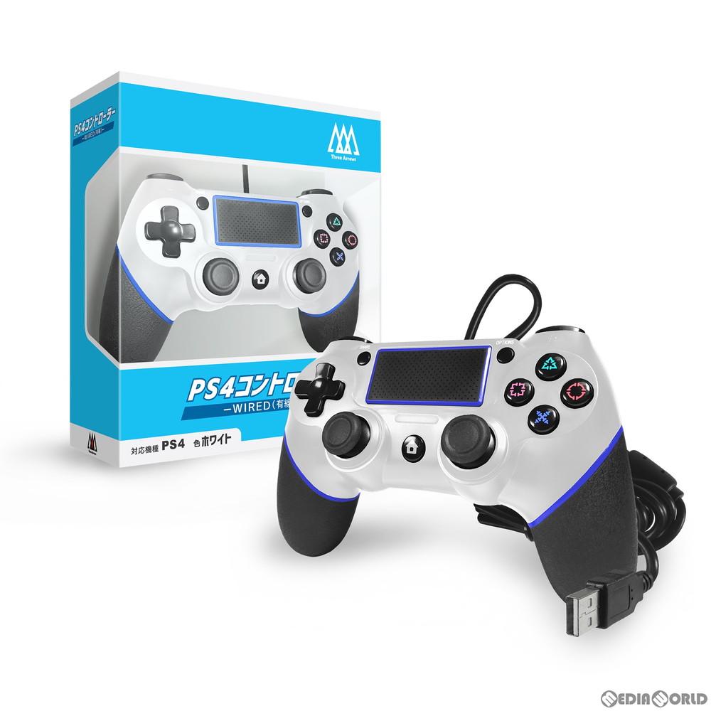 【新品即納】[ACC][PS4]PS4コントローラー WIRED(有線) ホワイト 2m スリーアロー(THA-SN506)(20200917)