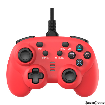 【新品即納】[ACC][Switch]CYBER・ワイヤードコントローラー ミニ(PS4/SWITCH用)(PS4/スイッチ用) サイバーガジェット レッド(CY-NSP4WCM-RE)(20200910)
