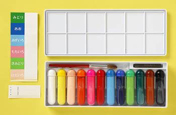 (再入荷待ち)すいさいえのぐ12色(幼児用)★パレット仕様ケース入り・10号の絵筆&デッサンチョーク入り