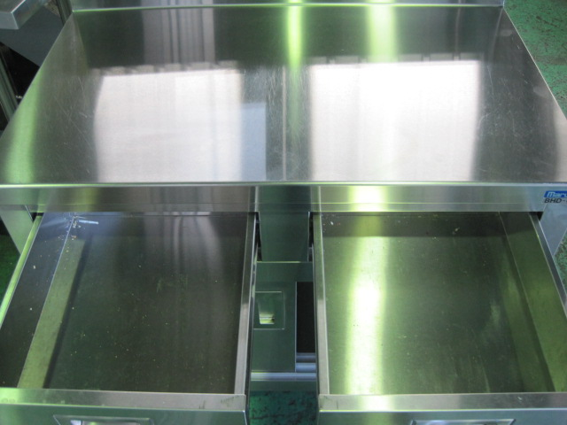 【W900xD600xH800mm】【業務用】【中古】 引出し付調理台 C2241 バックガード H150xD60mm