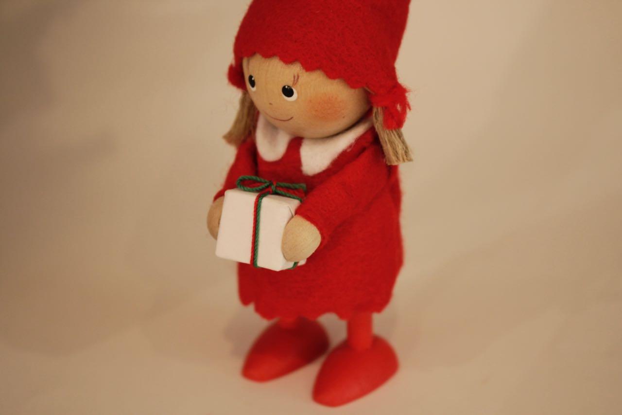 �-2【限定1】Nordic 木製人形 Girl(present)&スノーマン 吊り 2点セット