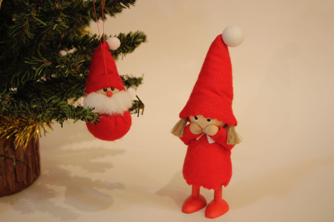 �-1【限定2】Nordic 木製人形 Girl(smily)&サンタクロース 吊り 2点セット