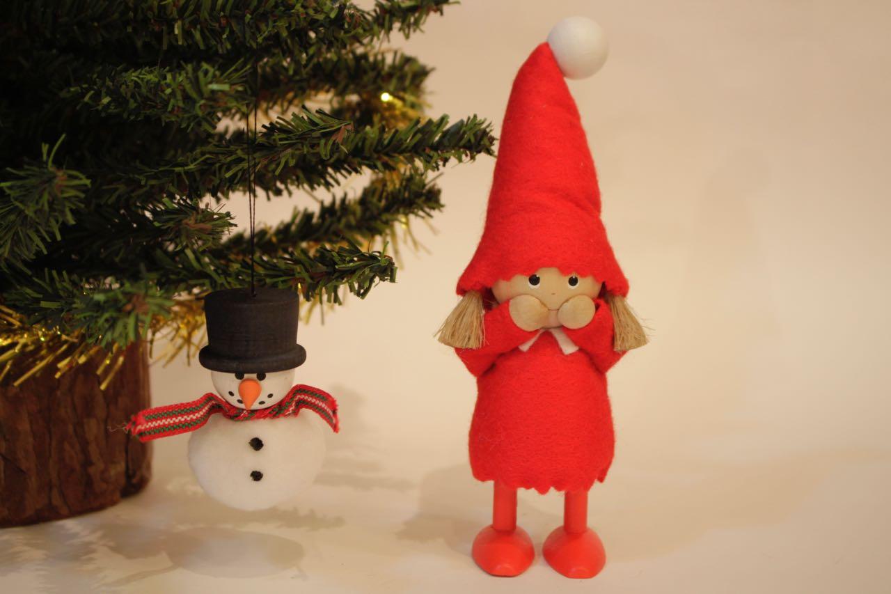 �-2【限定1】Nordic 木製人形 Girl(smily)&スノーマン 吊り 2点セット