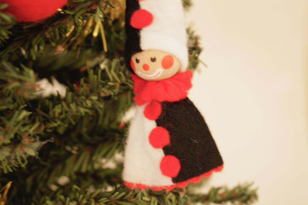 �【限定5】Nordic 木製人形 サンタクロース&スノーマン&ピエロ 吊り 3点セット