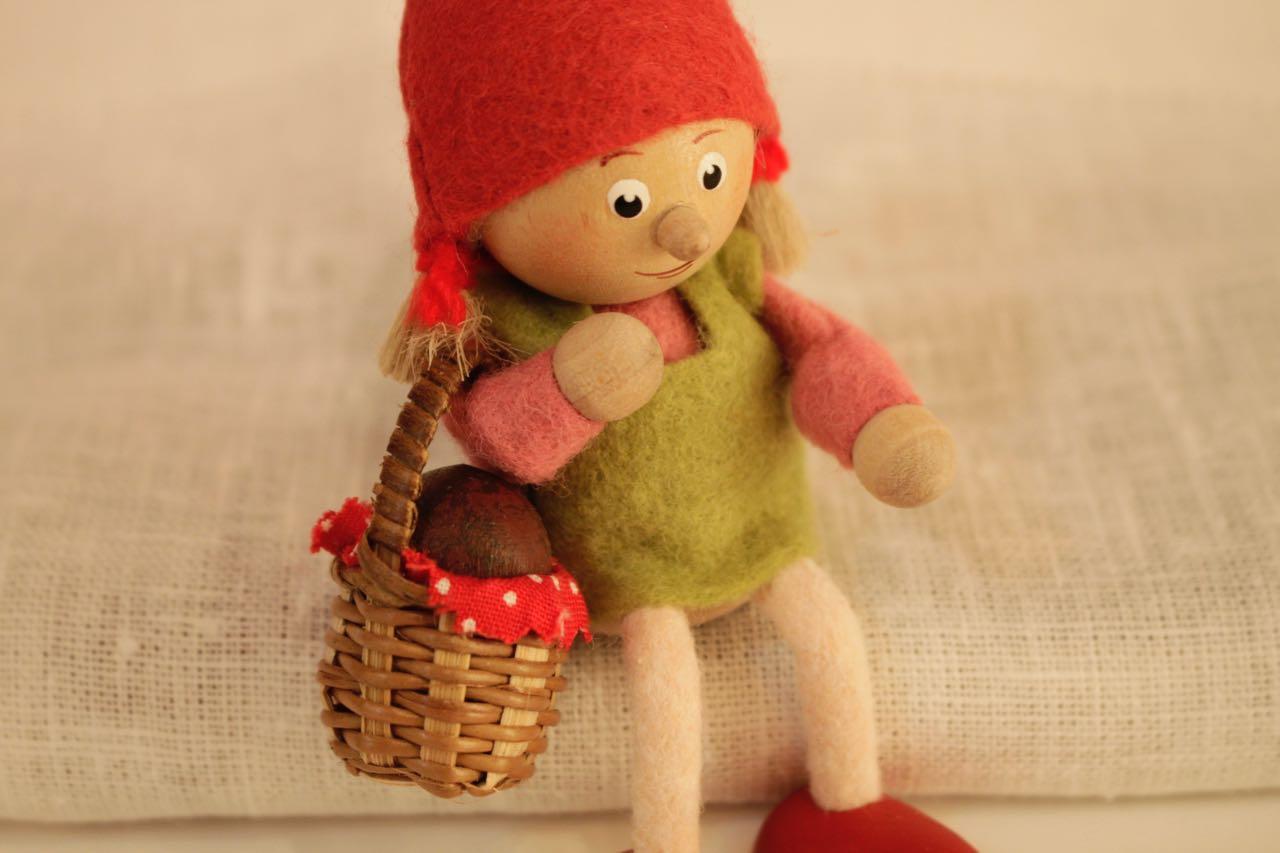 �【限定5】Nordic 木製人形 小人 キノコ-B&小人 バスケット-B 2点セット