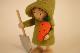 �-2【限定2】Nordic 木製人形 ガーデニングガール(キャロット)&小人wateringcan-pink2点セット