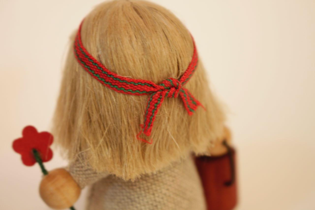 �-3【限定2】Nordic 木製人形 ガーデニングガール(キャロット)&小人wateringcan-orange2点セット
