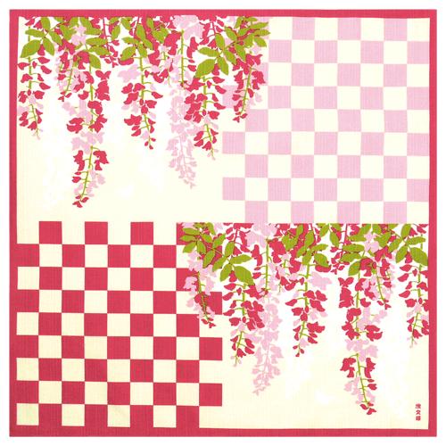 小布 市松枝垂れ藤 ピンク