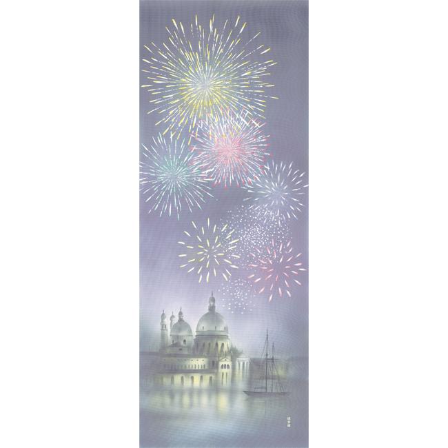 絵てぬぐい 城と花火