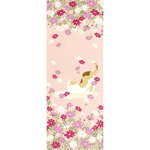 絵てぬぐい 秋桜とごきげん猫