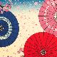 小布 和傘に舞桜 ピンク