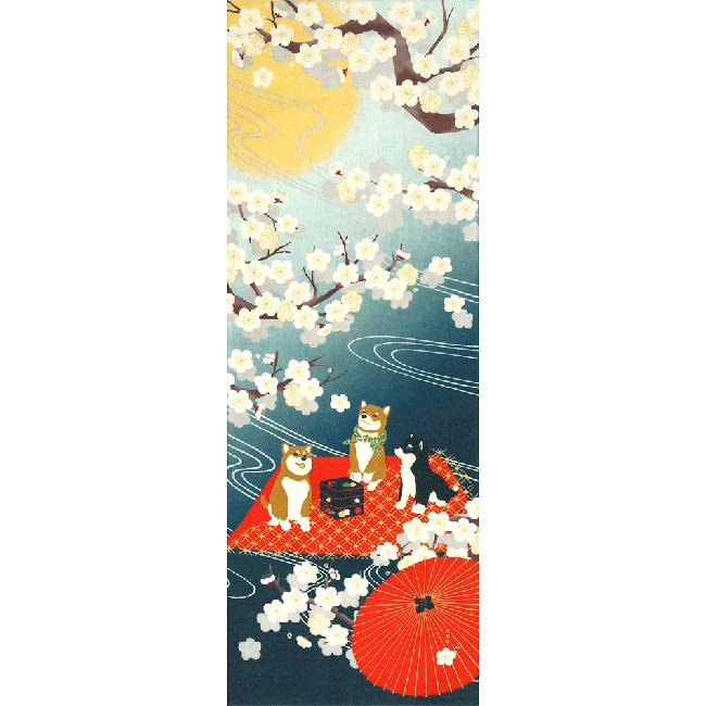 絵てぬぐい 豆柴と月夜の宴