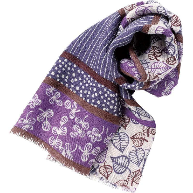 ラフウールストール ブロックリーフ 紫