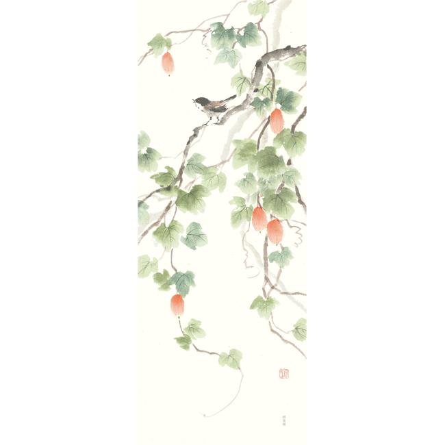 絵てぬぐい からすうりと秋の声