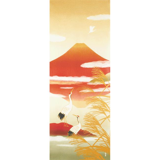 絵てぬぐい 鶴に茜富士