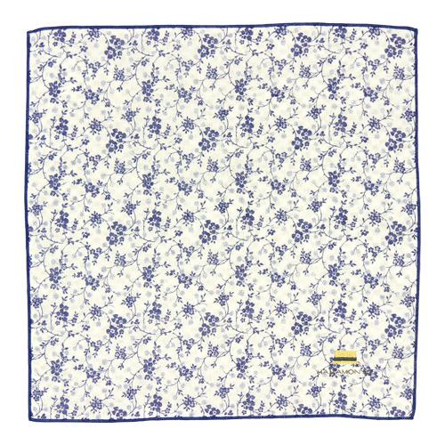リバーシブルガーゼハンカチ 小花と麦わら帽子 白