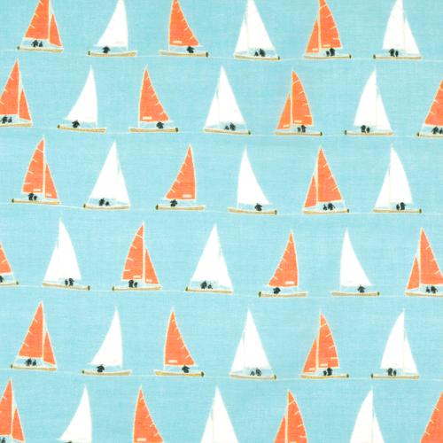 綿ローンストール ヨットならべ エメブルー