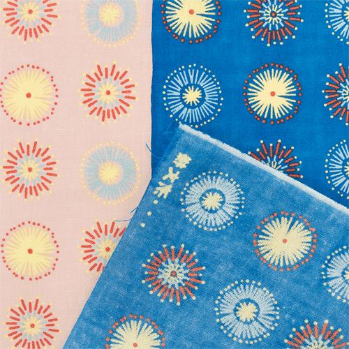 てぬぐい 花火紋 ピンクブルー