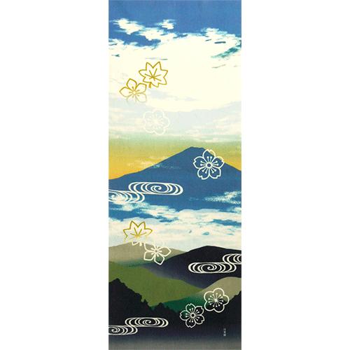 絵てぬぐい 富士と四季花模様