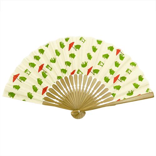 てぬぐい扇子 和傘カエル