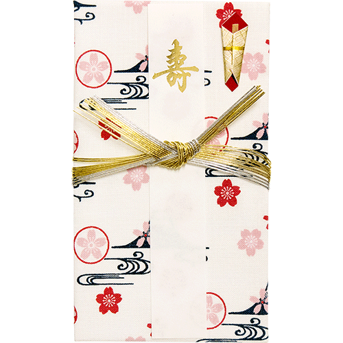 てぬぐいのはんかち 金封 寿 富士山桜紋 オフ