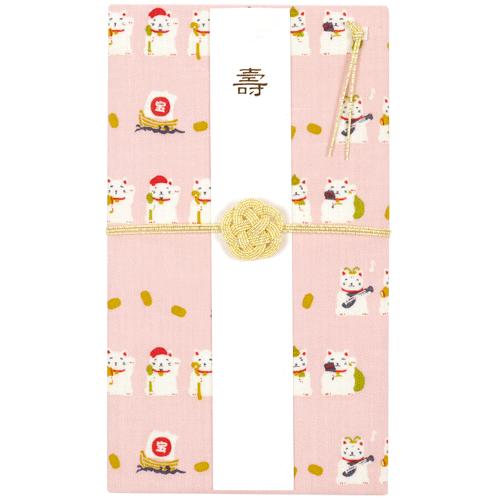 てぬぐいのはんかち 金封 兼用 七福神豆招き猫 ピンク