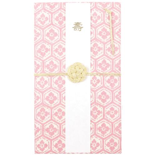 てぬぐいのはんかち 金封 兼用 亀甲に花菱 ピンク