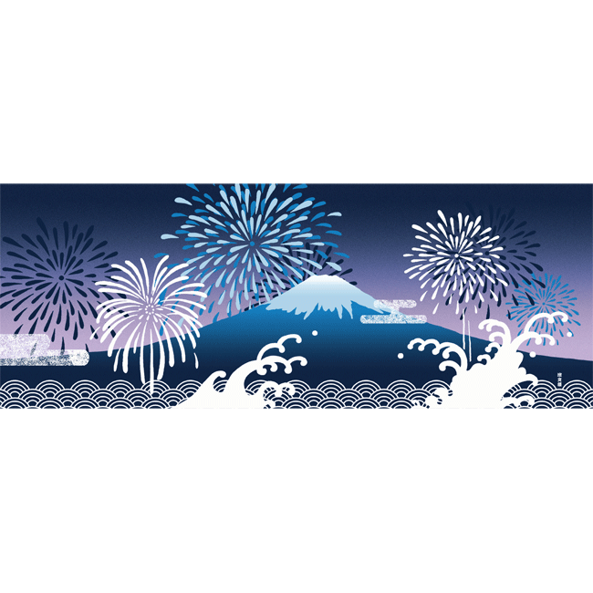 絵てぬぐい 打ち上げ花火と富士山