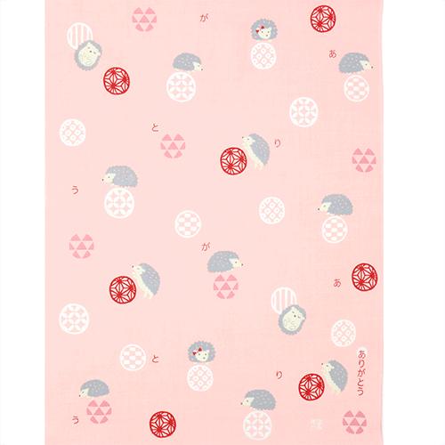 ひとことはんかち ありがとうハリネズミ ピンク