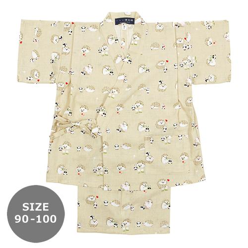 90-100サイズ キッズ甚平 ハリネズミと豆パンダ