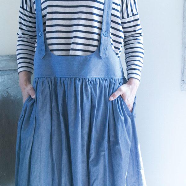 肩紐つきデニムスカート【メール便不可】  -ST0336