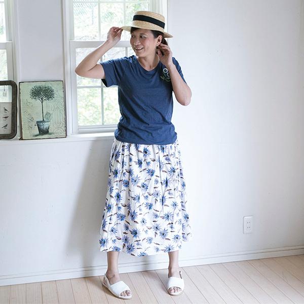 綿プリントギャザースカート【メール便不可】  -ST0354