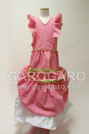 お子様用 ワンピース 水玉模様 6歳程度 ペチコート付き (一体型) ピンク [フラメンコ用] [スペイン直輸入] [送料無料]