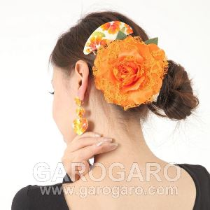 ハンドペイントのアクセサリセット Girda (ヒルダ) オレンジの花柄 [フラメンコ用] [スペイン直輸入] [送料無料]