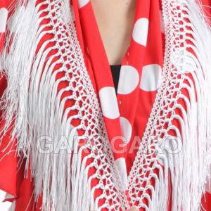 フリルとフレコの水玉シージョ Aroa (アロア) 赤 X 白水玉 [フラメンコ用] [スペイン直輸入] [送料無料] [おまかせメール便可]