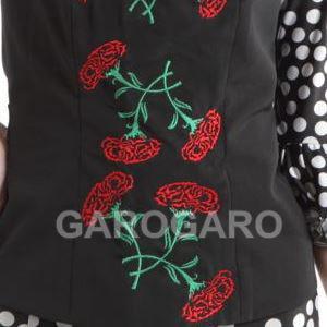[在庫限り] カーネーションの刺繍のトップス 黒 [フラメンコ用] [スペイン直輸入] [送料無料]