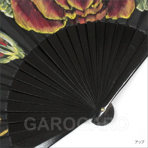 ペイントアバニコ Marta(マルタ) (23cm・片面張り) 黒 茶系の花[小さい][フラメンコ用][スペイン直輸入][メール便]
