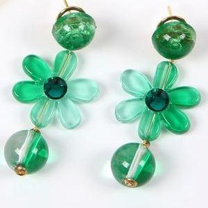 [セット価格] ペイネシージョ (小さい櫛) と花のイヤリング (ピアス) のセット (AT-07) 緑 [フラメンコ用] [スペイン直輸入] [送料無料] [おまかせメール便可]
