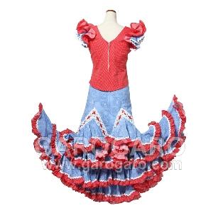 お子様用 ツーピース Fabula (ファブラ) 赤 X 青 身長150�程度 バラのコサージュ付き [フラメンコ用][スペイン直輸入][送料無料]