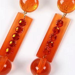 [セット価格] [針なし] ペイネシージョ (小さい櫛) と短冊形 (大) イヤリングのセット (AR-04) オレンジ (クリップ&ねじの日本式留め具) [フラメンコ用] [スペイン直輸入] [送料無料] [おまかせメール便可]