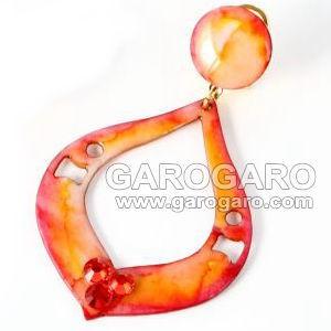 [針なし] ハンドペイントのアクセサリセット Dorotea (ドロテア) オレンジ (クリップ&ねじの日本式イヤリング留め具) [フラメンコ用] [スペイン直輸入] [送料無料]