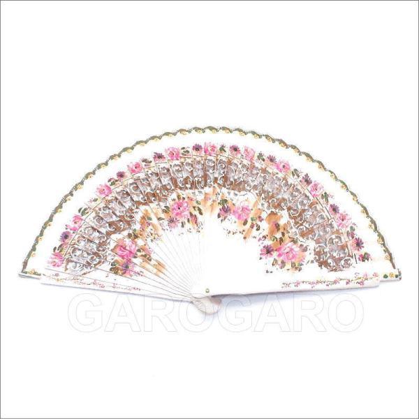 [わけあり品]バラ模様の小さな白いペイントアバニコ (22.5cm | 片面張り | 透かし彫りあり) [小さい][フラメンコ用][スペイン直輸入][メール便]